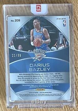 2019-20 Spectra Darius Bazley Rookie Patch Auto Fotl On-card 4-color Okc #21/39