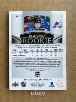 2019-20 UD The Cup Cale Makar Rookie Auto Patch /99 True RPA 4-Color SP ROY