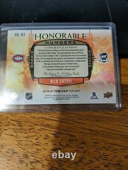 2019-20 UD The Cup Nick Suzuki Honorable Numbers Auto 3 Color Patch #'d 4/14
