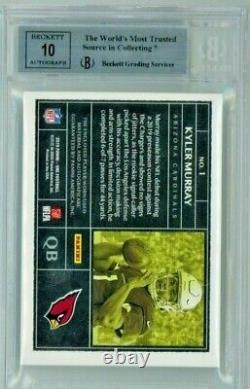 2019 Kyler Murray #1 Panini One Blue /99 Rookie 3 Color Patch Bgs 10 Auto 8.5