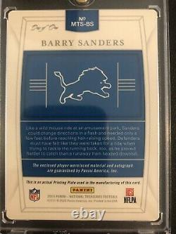 2019 National Treasures Barry Sanders -Lions On Card Auto 3 Color Patch 1 of 1