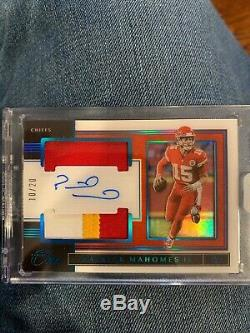 2019 Panini One Patrick Mahomes 3 Color Patch Auto 10/20 Blue