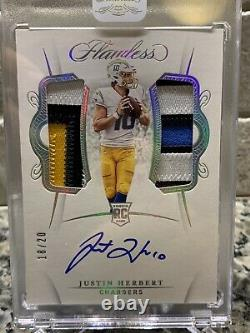 2020 Flawless Justin Herbert RPA RC Rookie 4 color dual patch Auto 18/20 Encased