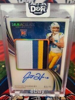 2020 IMMACULATE Football Justin Herbert RPA AUTO # /25. 4 color patch