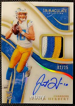 2020 IMMACULATE Justin Herbert GOLD Rookie Patch Auto (4 Color)! #d /25 Mint
