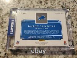 2020 IMPECCABLE EXTRAVAGANCE TRI-COLOR PATCH BLUE AUTO Barry Sanders 1/8 LIONS
