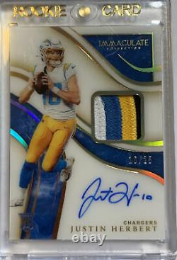 2020 Immaculate Justin Herbert 4 Color Patch Auto Rpa /25 Rookie Rc