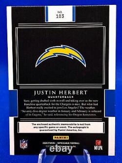 2020 Impeccable Justin Herbert Ball & 4 COLOR Helmet ON CARD Auto RC 1/5 RPA ROY