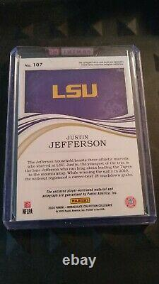2020 Justin Jefferson 08/25 Auto Panini Immaculate Rpa Rookie Gold 4 Color Patch