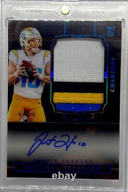 2020 National Treasures Justin Herbert Four Color Patch Auto Midnight 02/20 RPA