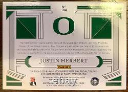 2020 National Treasures Justin Herbert RPA 85/99 On Card Auto 3 Color Patch