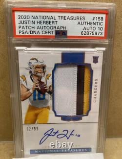 2020 National Treasures Justin Herbert True RPA /99 RC 3 Color Patch Rookie Auto