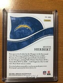 2020 Panini Immaculate, JUSTIN HERBERT, RC/2 COLOR PATCH/AUTO. #58/99, SICK
