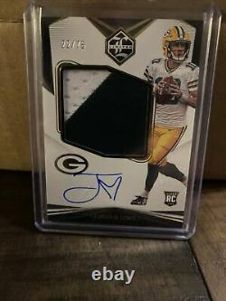 2020 Panini Limited Jordan Love Rookie Patch Auto /75 2 Color On Card RPA Gold