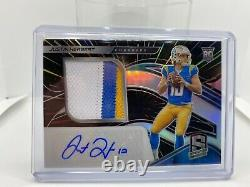 2020 Panini Spectra Justin Herbert RPA /75 Neon Blue Rookie Auto 4 Color Patch