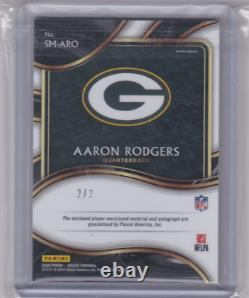 2020 Select AARON RODGERS #2/2 Three-Color Patch Auto Green Bay Packers Legend