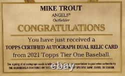 2021 Mike Trout Topps Tier One 4 Color Sick Gold Patch Auto Card 09/25 GOAT27