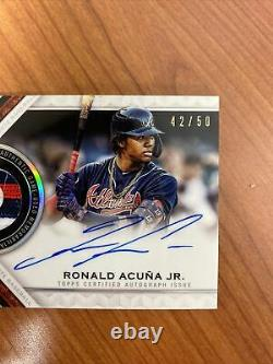 /50 2021 Topps Tribute Ronald Acuna Jr. Braves 3 Color Patch On Card Auto Beauty