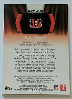 A. J. GREEN 2011 TOPPS CHROME RPA ROOKIE RC PATCH AUTO /25 Bengals 3 Color Patch