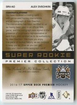 Alex Ovechkin 2016 17 UD Premier Super Rookie Retro 3 Color Patch Auto 4/5