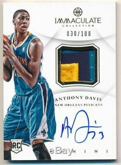 Anthony Davis 2012/13 Immaculate Collection Rc Autograph 3 Color Patch Auto /100