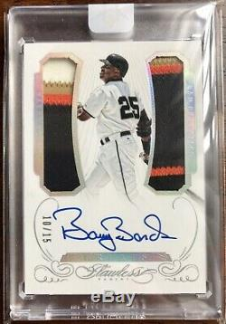 BARRY BONDS 2016 Panini Flawless Greats DUAL 4-COLOR PATCH AUTO 10/15 RARE