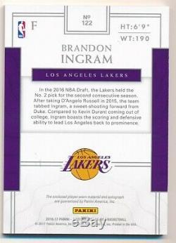 Brandon Ingram 2016/17 National Treasures Rc Autograph 3 Color Patch Auto Sp /99