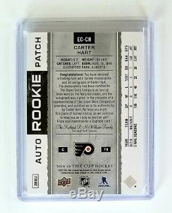 CARTER HART 2018-19 The Cup Exquisite 3 Color 60/79 Rookie Patch AUTO 18-19