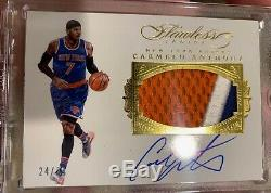 Carmelo Anthony 2015 16 Panini flawless Knicks game worn 3 color patch auto /25