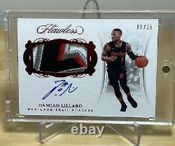 Damian Lillard 2017-18 Panini Flawless 4-color Patch & On-card Auto #1/15 Hp-dl