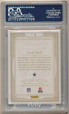 Emmitt Smith 2014 Panini Flawless Autograph Dual 2 Color Patch Auto #13/25 Psa 9