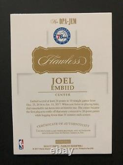 JOEL EMBIID 2016/17 PANINI FLAWLESS AUTOGRAPH DUAL 3 Color PATCH AUTO SP #05/12