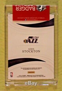 JOHN STOCKTON 2018-19 Immaculate GAME-WORN 4-Color Patch Auto RED #'d 1/5 JAZZ