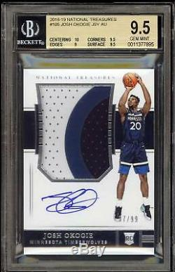 JOSH OKOGIE 2018-19 National Treasures Auto 3 Color Patch RPA SP /99 BGS 9.5/10