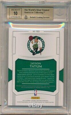 Jayson Tatum 2017/18 National Treasures Rc Auto 2 Color Patch #92/99 Bgs 9.5 10