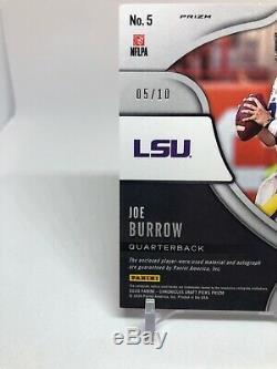 Joe Burrow 2020 Panini Prizm Rpa 3 Color LSU /10 Rc Patch Auto Bengals #1 Draft