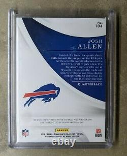 Josh Allen Immaculate Rookie on card AUTO /99 4 color jersey patch MVP Mint