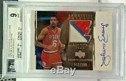 Julius Erving 2003-04 UD Exquisite 3 color GU Patch Autograph Auto /100 BGS 9/10