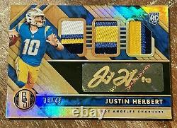 Justin Herbert 2020 Gold Standard Triple Jersey Patch Auto 34/49 RPA 4 COLOR