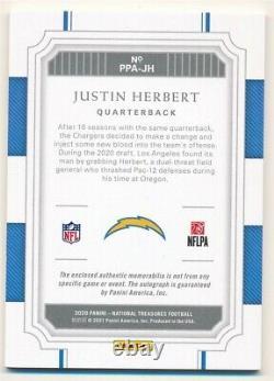 Justin Herbert 2020 National Treasures Rc Autograph 4 Color Patch Auto Sp #83/99