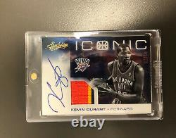 Kevin Durant 2012-13 Absolute Iconic Prime Patch Auto /10 On Card 3 Colors OKC