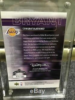 La Lakers Kobe Bryant Very Ltd3color Game Worn Patch Auto 01 Ud 20/100 Ud Coa
