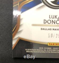 Luka Doncic 2018-19 Panini Select Tie Dye Prizm Auto 3 Color Patch RC #10/25