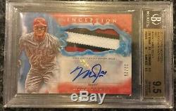 Mike Trout 2017 Topps Inception Baseball 3 Color Jumbo Patch Auto 13/25 BGS 9.5
