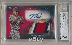 Mike Trout 2018 Topps Inception Red Autograph 4 Color Patch Auto #11/25 Bgs 9 10
