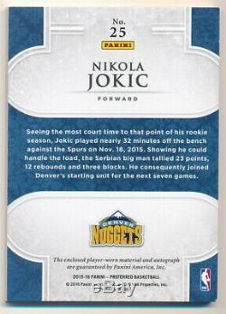 Nikola Jokic 2015/16 Panini Preferred Rc Silhouettes Auto 4 Color Patch Sp #/25