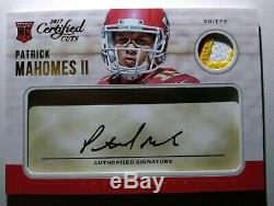 Patrick Mahomes II 2017 Certified Cuts RC Rookie Auto Patch 28 /49 3 Color Patch