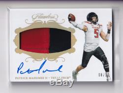 Patrick Mahomes II 2018 Flawless 2 Color Patch Auto Autograph /10 SSP Chiefs MVP