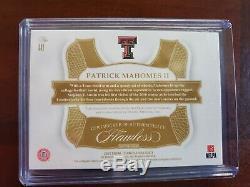 Patrick Mahomes II 2019 Panini Flawless Collegiate 3 Color Patch AUTO 1/10