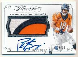 Peyton Manning 2015 Panini Flawless Autograph Broncos 3 Color Patch Auto #21/25